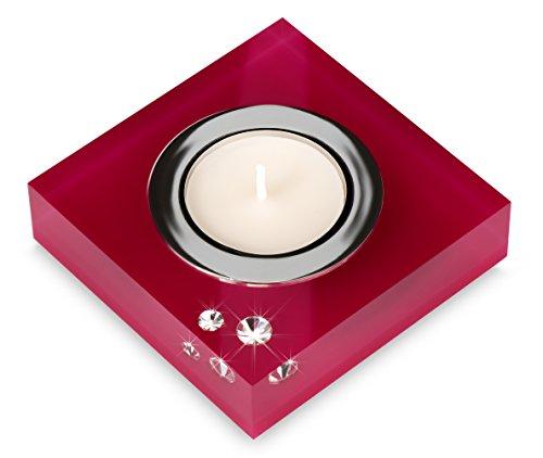 My IMPLEXIONS Moderner Teelichthalter Simply 2 veredelt mit Swarovski Kristallen/Stilvolle Tischdeko (Fuchsia)