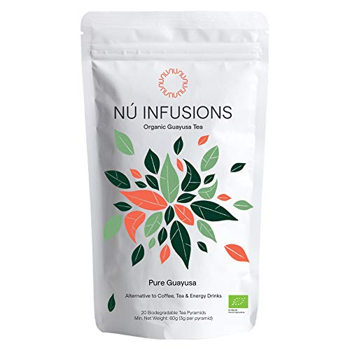 Organic Guayusa Tea - Amazonian Herbal Tea with Slow-Release Caffeine for Sustained Focus & Energy - Certified Organic Tea, High in Antioxidants - 20 Biodegradable Tea Bags by Nú Infusions