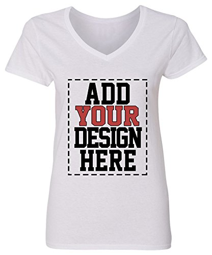 Custom V Neck T Shirts for Women - Make Your OWN Shirt - Add Your Design Picture Photo Text Printing White