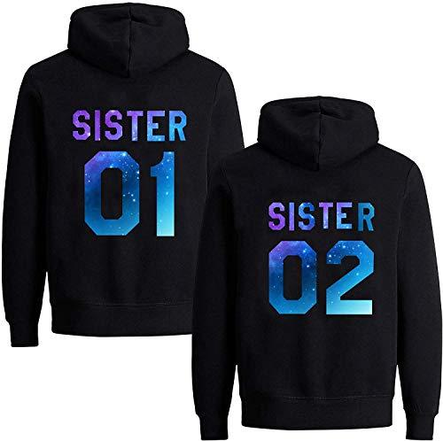 Best Friends Damen Sister Pullover Hoodie Für Zwei Mädchen Beste Freunde BFF (Sister 02, Starry Night Schwarz L)