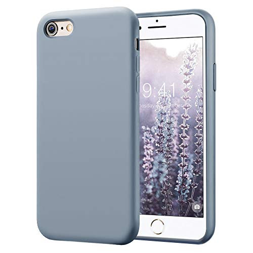KUMEEK iPhone 6s Case/iPhone 6 Case, Anti-Slip Liquid Silicone Gel Rubber with Soft Microfiber Cushion Shockproof Drop Protective Case Cover for iPhone 6s/6 - Lavender Grey
