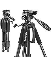 Neewer Bärbar 56 tum/142 centimeter aluminium kamerastativ med 3-vägs svängbart pannhuvud, väska för DSLR-kamera, DV videokamera laddar upp till 8,8 pound/4 kg svart (SAB234)