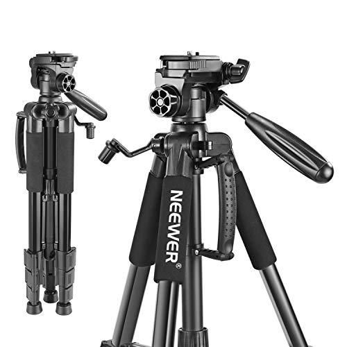 Neewer Treppiedi per Fotocamera Portatile 142cm in Lega di Alluminio con Testa Piatta Girevole in 3 Modi, Borsa di Trasporto per DSLR Fotocamera, Capacità di Carico 4KG Nero