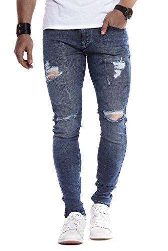 Leif Nelson Jeans da Uomo Pantaloni Jean LN-9150 Blu Scuro W33/L30