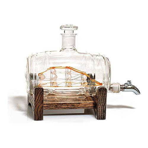 YSYDE Jarra de Whisky, dispensador de Licor de 1000 ml, Jarra de Barril sin Plomo, Regalo recién Casado de decoración náutica, Bourbon, para Ron, Vodka