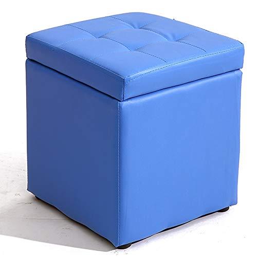 TINGTING-Hocker, Kurze Aufbewahrung Ledersofa Für Die Flügeltür Wechseln Der Schuhe Flip-Cover Wasserdicht Leicht Zu Reinigen (Farbe : Blau, größe : 30 * 30 * 35cm)
