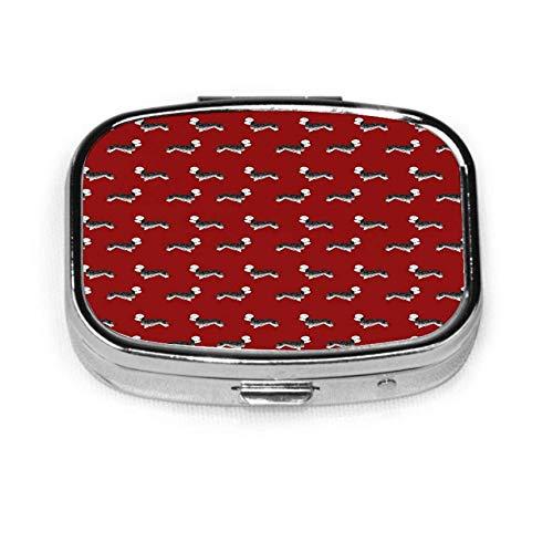 Benutzerdefinierte Mode Quadrat Pille Box Tablet Halter Tasche Geldbörse Organizer Fall Dekoration Box Dandie Dinmont Terrier Pfeffer Hund