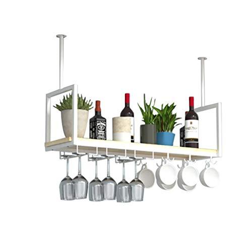 Étagères murales Porte-vins de style industriel, rack à vin suspendu au plafond + rack de rangement de gobelet/mug, blanc, adapté aux restaurants/bars