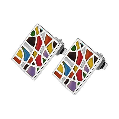 Akzent Edelstahl Ohrstecker, Ohrringe mit Mosaik-Steinchen, Mehrfarbig