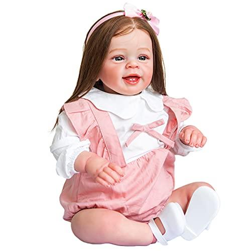 YIHANGG 60CM Muñeca Reborn De Tamaño Enorme Muñeca Realista para Niña Pequeña Cuerpo Suave con Pelo Castaño Enraizado Compañero De Juego