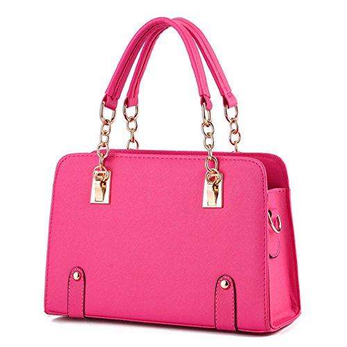Borse per donna in pelle Borsette catena mano dura borsa di Girl Pink 30 da 21 da 12cm