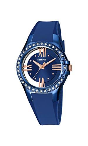 Calypso Reloj de Cuarzo para Mujer con Esfera analógica Azul y Correa de plástico Azul K5680/6