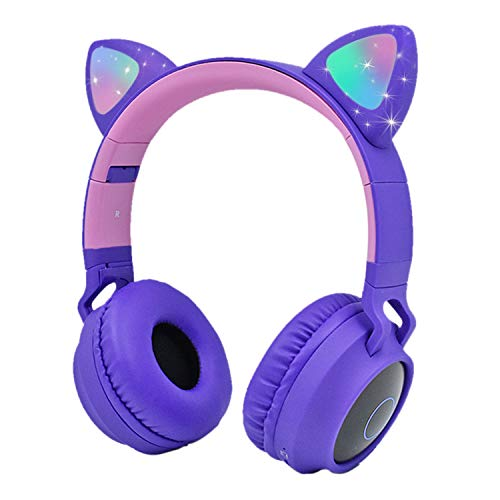 4In1 Purple Bluetooth kids Cute Cat Ear Over Ear Wireless LED Stereo Headphone, FM Radio TF Card MP3 Point Headset + Microphone Music Streaming Hands-Free Calling for iPhone Game X-Box PS3 PS4 PS5 Wii