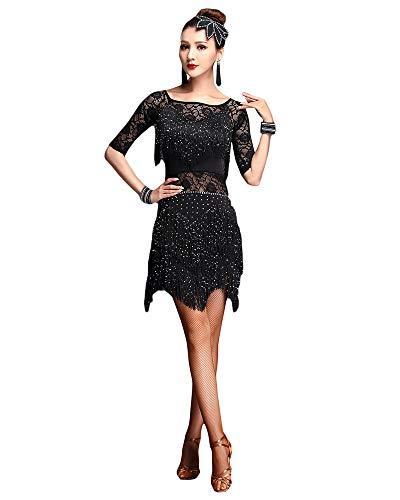 Jonact Vestido Latino para Mujers Señoras Vestido de Baile de salón con Flecos Lentejuelas Bordado para Salsa Tango Chacha Rumba