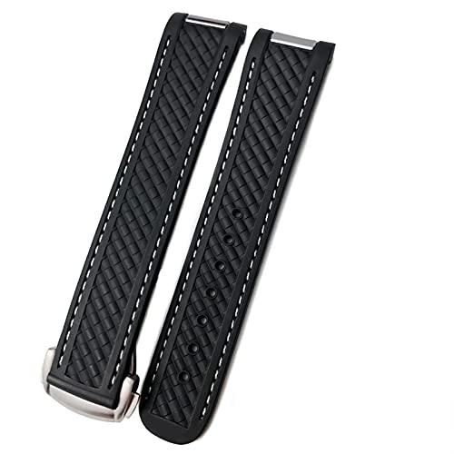 DLCYMY Correa de reloj para Omega SeAMASTER 300 AT150 DE VILLE patrón tejido correa de silicona correa de reloj accesorio cadena (Color de la correa: línea de color negro y blanco, tamaño: 20 mm)