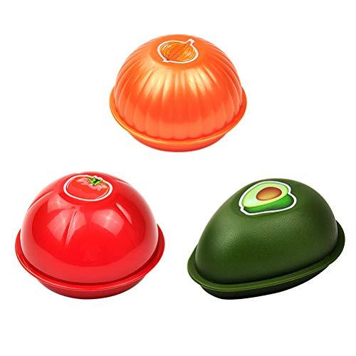 3pcs Refrigerador Creativo de la Cocina Frutas Vegetales Envases crujientes Cebolla Tomates de Aguacate Recipientes de Almacenamiento Frescos