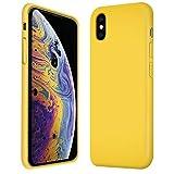 Verco Handyhülle für iPhone XS Hülle Silikon, Flex TPU Gel [weiches Innenfutter] Hülle für Apple iPhone X Schutzhülle Stoßfest (5,8 Zoll), Gelb