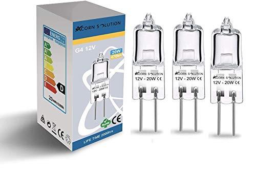 AcornSolution 3X G4 Halogenstift Basis Glühbirnen Clear Capsule 12V 20W [Energieklasse C]
