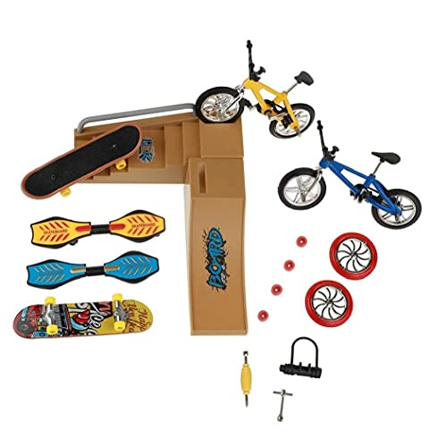 Patinetas dedo Juguetes Set Skate Park Kit Mini Scooter de bicicletas Skateboard Lugar para Niños Manos Formación 1 Pack,