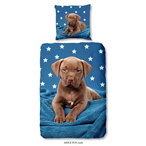 """135x200cm Hund Welpe Sterne Good Morning Bettwäsche /"""" Pup /"""" 6604"""