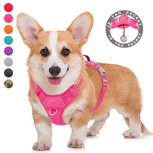 BARKBAY No Pull Dog Harness Large Step in Reflective Dog Harness with Front Clip and Easy Control Handle for Walking Training Running with ID tag Pocket(Pink,M)