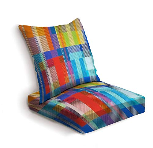 2-Piece Outdoor Deep Seat Cushion Set Rainbow textile background Hipster style checkered shirt pattern Back Seat Lounge Chair Conversation Cushion for Patio Furniture Replacement Seating Cushion
