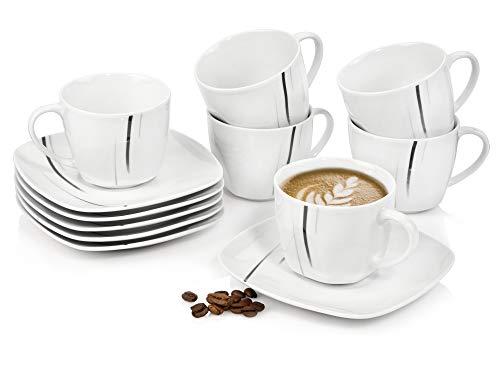 Sänger Kaffeetassen SetBilgolaBlack Lines aus Porzellan 12 teilig - Bestehend aus Tassen und Untertassen - Für 6 Personen - Füllmenge 175 ml - Perfekt aufeinander abgestimmtes Set