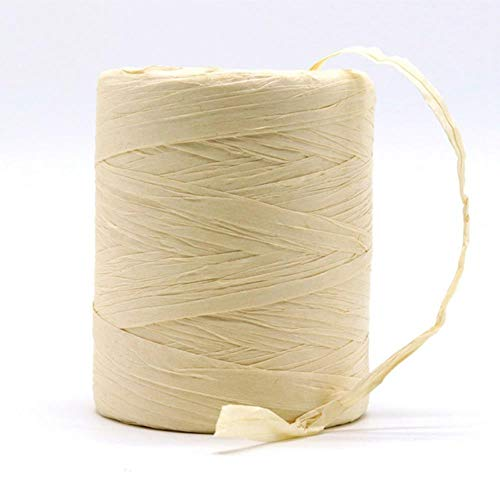 QINQ Hilo de Rafia Natural Crochet Hand Crochet Bag Raffia Bag HatCuerda deVeranopara Tejer a Mano Sombreros de Paja de Rafia, Color Beige Luna