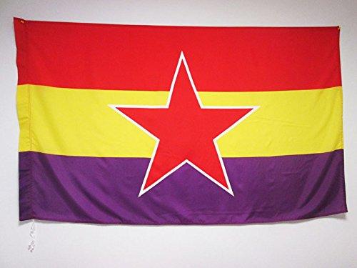 AZ FLAG Bandera ESPAÑA Republicana Estrella del EJÉRCITO Popular 150x90cm para Palo - Bandera DE LA Republica ESPAÑOLA 90 x 150 cm