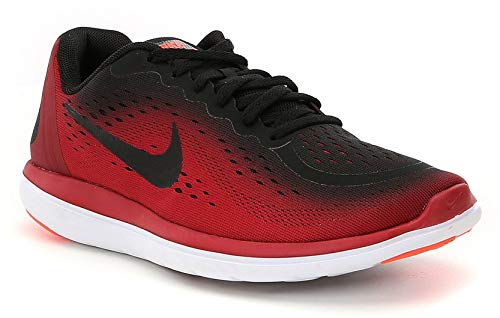 Nike Boy's Flex RN 2017 (GS) Running Shoe Black/Metallic Hematite/Tough Red Size 6 M US