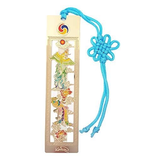 Korean Traditional Miniature Cool Bookmarks Souvenirs Gifts for Student Kids Adults Wife Friends - Coolest Metal Unique Color Designs Bookmark Pack (Bonghwang)