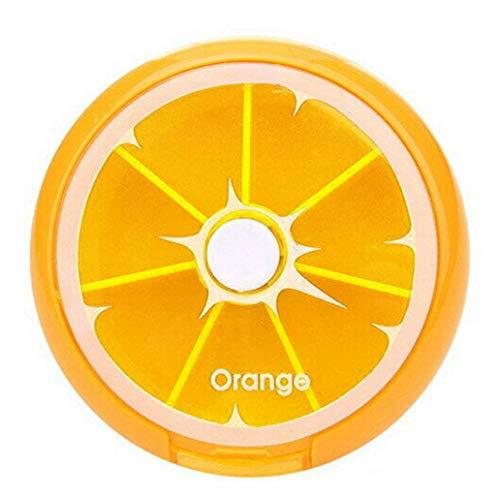 Uticon Pillendose, Mini-Fruchtrotierende Tablettenbox, Organizer für Medikamente, orange