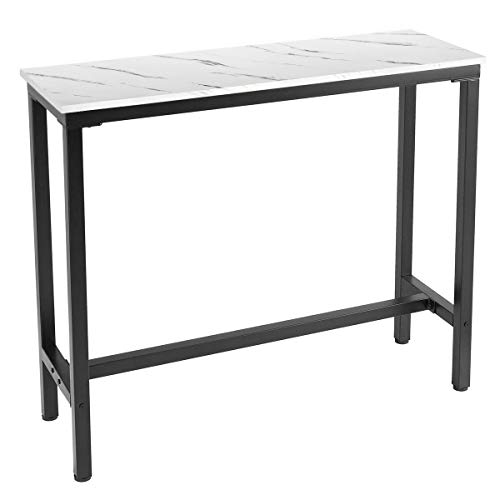 """Mr IRONSTONE 47"""" Pub Dining Table, Bar Height Table with Faux Marble Top (Indoor USE ONLY)"""