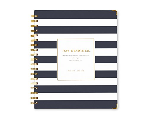 "Day Designer for Blue Sky 2017-2018 Academic Year Weekly & Monthly Planner, Wire-O Binding, 8"" x 10"", Navy Stripe Hardcover Photo #8"