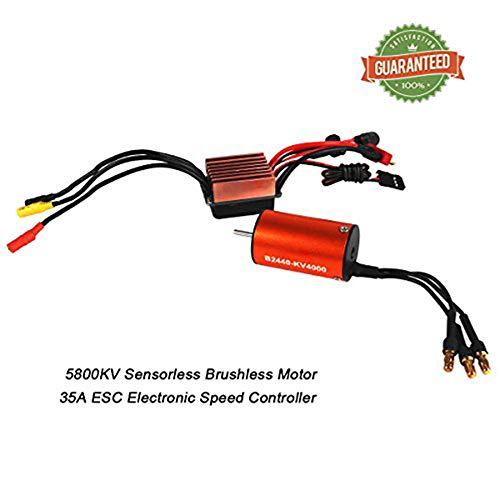 Crazepony-UK B2440 4000KV Sensorless Brushless Motor with 35A ESC Electronic Speed Controller for 1/16 1/18 RC Car Off-Road Truck
