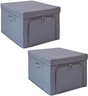 MU Grande boîte de rangement pour vêtements, boîte de rangement pliante, conception à double fermeture à glissière, fenêtr...