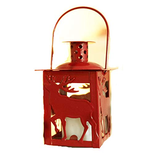 IJzeren kunst Kerst kandelaar Elk vorm rood Draagbare Decoratie ornamenten geschenk Elektronische kaarslicht familie Hotel 15 * 6cm