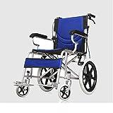 LOLRGV Folding Tragbarer Rollstuhl Aluminium Rollstuhl Abnehmbarer Rollstuhl Scooter Blau Ultralight -