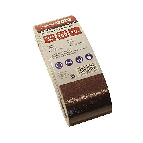 Woltersberger® 10 Stück Gewebe-Schleifbänder | Größe 75x480 mm | Körnung P150 | Premium Schleifband Bandschleifpapier