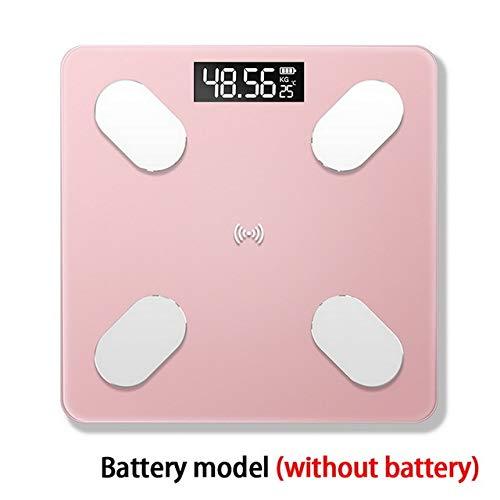 Mdsfe Neue Bluetooth-Waage Boden Körpergewicht Badezimmerwaage Intelligente hintergrundbeleuchtete Displaywaage Körpergewicht Körperwassermuskel- Keine Batterie Pink
