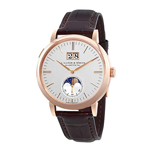 A Lange & Sohne Saxonia 18kt Rose Gold Moon Phase Automatic Silver Dial Men's Watch 384.032