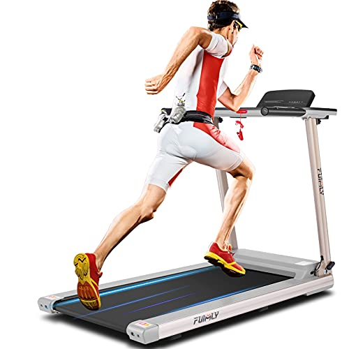 FUNMILY Folding Treadmill, Treadmills with Large Desk and Heavy Duty Steel Frame, 12 preset Programs, Best Walking Running Exercise Treadmill Machine for Home Gym Office Cardio Use