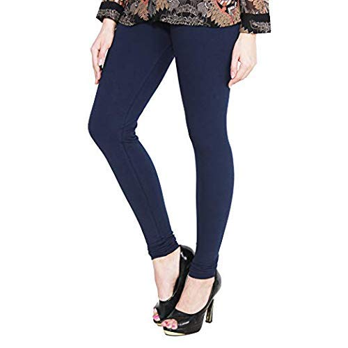 DREAM & DZIRE navy blue leggins for women in cotton lycra fabric 4 way stretch for all small size to plus size.(2XL- XXL Size)