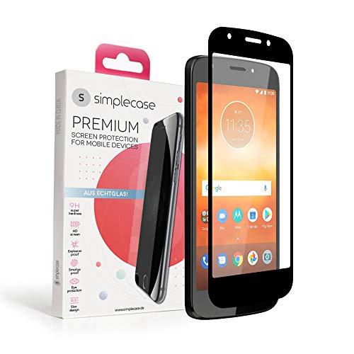 Simplecase Panzerglas passend zu Motorola Moto E5 Play , FULL SCREEN Premium Bildschirmschutz , 100prozent Abdeckung , Optimaler Schutz , Extra Festigkeitgrad 9H , Schwarz - 1 Stück