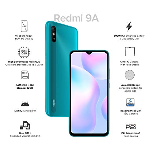 Redmi 9A (Nature Green, 2GB RAM, 32GB Storage) | 2GHz Octa-core Helio G25 Processor | 5000 mAh Battery 3