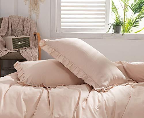 枕カバー 2枚セット ピロケース フリル付き 46cmx63cm 封筒式 合わせ式 肌に優しい ホワイト