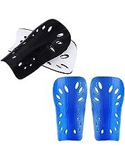 Milisten 2 paar voetbal scheenbeschermers scheenbeen pads voetbal beschermende Gear kalf Guard scheenbeen pads voor tieners kinderen kinderen jeugd (zwart + blauw)