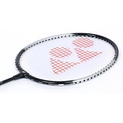 YONEX GR Badmintonschläger 2018 Profi Anfänger Übungsschläger mit Gesichtsabdeckung Stahlschaft Saina Nehwal Special Edition Badmintonschläger GR 303 (schwarz, 2 Stück)
