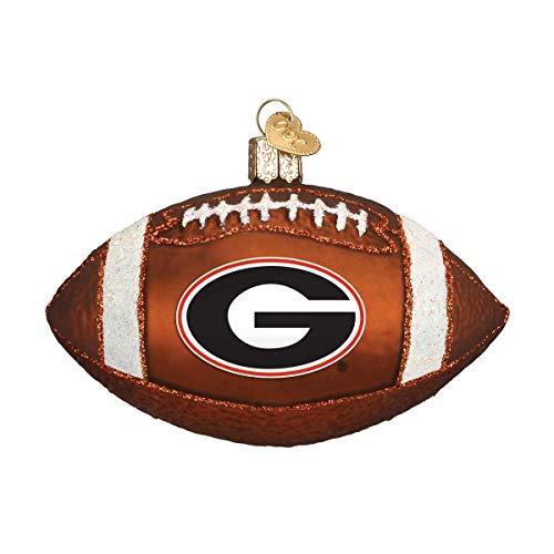 Old World Christmas University of Georgia Bulldogs Glass Blown Ornaments for Christmas Tree Football, 4' x 4' x 4'