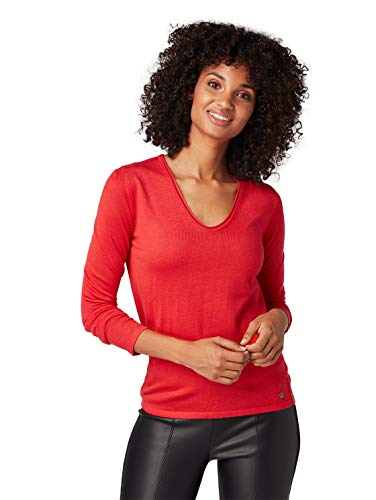 TOM TAILOR Basiv V-Ausschnitt Pullover Pull, Rouge (Brilliant Red 4489), Medium Femme